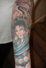手臂亚洲的艺伎彩绘纹身图案
