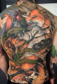 背部现代风格彩色狐狸战士与蝴蝶纹身图案