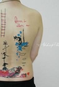 背部有趣的斑斓卡通画猫咪小人和字母纹身图案