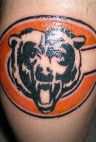 熊头与字母标志纹身图案