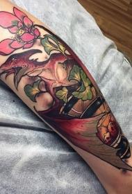 小腿彩色的恐龙与花朵纹身图案