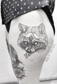 大腿黑色线条神秘的狐狸头像纹身图案
