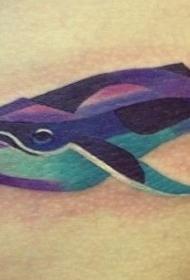 水彩美丽的蓝鲸鱼纹身图案