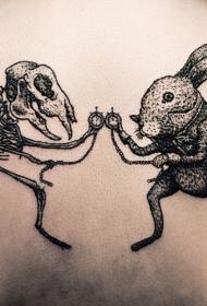 怪异的黑色兔子和骨架纹身图案