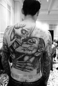 背部美丽的死亡男性女性接吻纹身图案