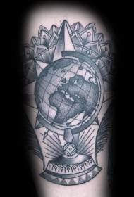 雕刻风格黑色点刺地球仪与梵花纹身图案