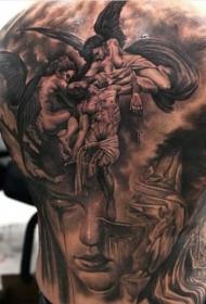 背部不寻常的组合天使与神秘女人肖像纹身图案