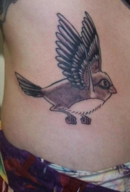 腹部中国风漂亮的鸟纹身图案