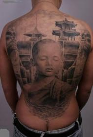 满背惊人的非常逼真亚洲男孩与旧城纹身图案