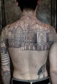 背部和手臂壮观的黑色线条城市纹身图案