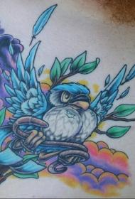 蓝色的鸟与钥匙纹身图案