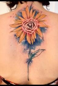 背部卡通风格的彩色漂亮的向日葵纹身图案