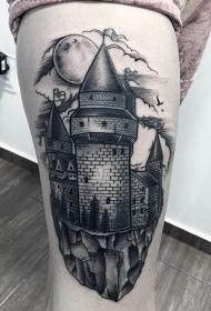 大腿黑白中世纪城堡纹身图案