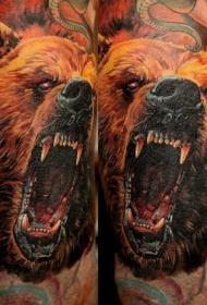 令人敬畏的彩色熊头纹身图案
