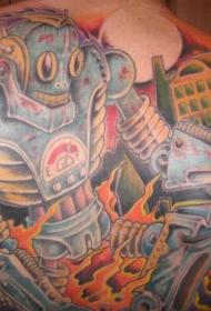 背部彩色卡通城市和巨型机器人纹身图案