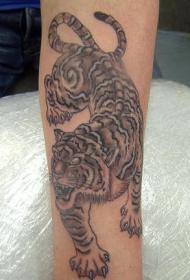 黑色的亚洲下山虎纹身图案