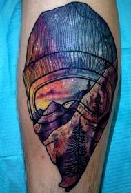 手臂现代风格蒙面男子与星空色彩纹身图案