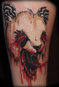 恐怖风格令人毛骨悚然的血腥熊猫纹身图案