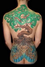 背部象征性彩色大树纹身图案