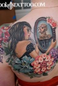 背部插画风格彩色的女人与镜子花朵纹身图案