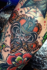 old school彩色墨西哥牛仔骷髅手臂纹身图案