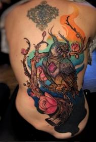 背部new school彩色的树和花朵幻想猫头鹰纹身图案