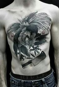 胸部雕刻风格黑色邪恶的公鸡与刀纹身图案