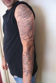 手臂黑色线条龙纹身图案