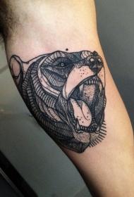 手臂黑灰线条点刺熊头纹身图案