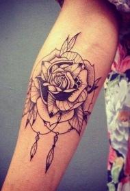 经典的黑色线条点刺玫瑰花纹身图案