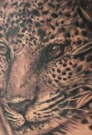 非常逼真的黑白豹子纹身图案