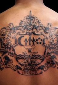 背部黑色狮子徽章纹身图案