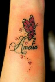 手腕星星闪烁的蝴蝶与字母纹身图案