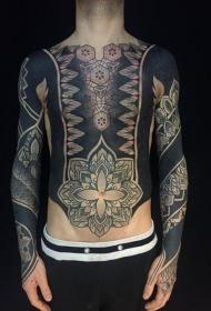 胸部和腹部装饰梵花个性纹身图案