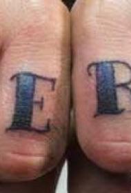 手指蓝色和黑色阴影字母纹身图案