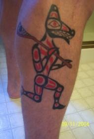 埃及红色狼神像纹身图案