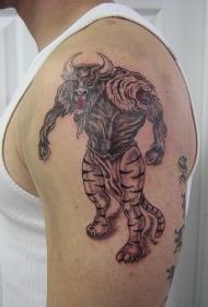 大臂愤怒的牛头人纹身图案