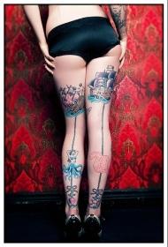 性感女生腿部彩色各种幻想动物纹身图案