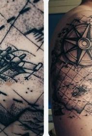 大臂有趣的黑灰世界地图与指南针纹身图案
