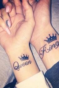 浪漫的情侣手腕英文字母皇冠纹身图案图片