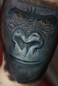 大臂写实黑猩猩头像纹身图案