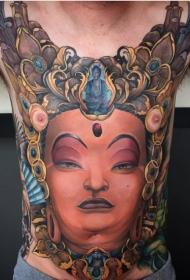 胸部印度教风格彩色如来佛祖肖像纹身图案