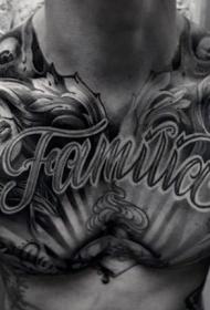 胸部黑灰字母与女性头像纹身图案