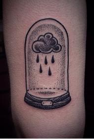 手臂创意黑色点刺下雨的云朵纹身图案