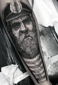 手臂素描风格黑色老水手肖像纹身图案