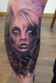 小腿黑色的恐怖风格神秘女人肖像纹身图案