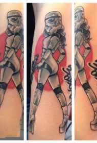彩色卡通性感风暴骑兵女人纹身图案