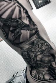 侧肋神秘的黑色飞行天使纹身图案