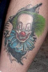 邪恶的小丑皮肤撕裂纹身图案