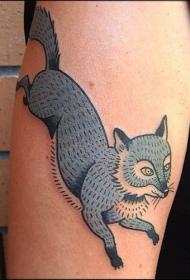 卡通蓝色狐狸大臂纹身图案